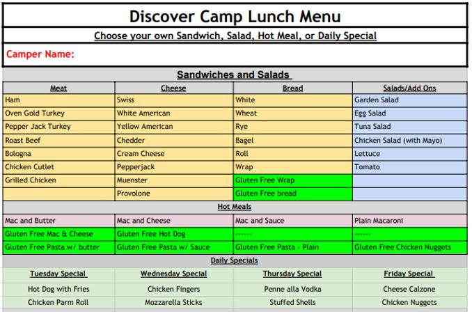 Sample Lunch Form